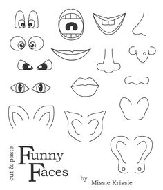 printable face parts | Click the image, wait for it to load, right click and save, print at ...