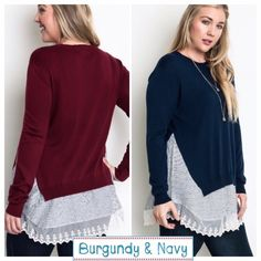 """LACE BOTTOM """"2-FER"""" TOPS! So adorable and super soft. Polyester/spandex blend with beautiful cotton/poly lace detail.   PLEASE DO NOT BUY THIS LISTING, I will make you a separate listing.                          BURGUNDY-three XL & two 1X, NAVY-three XL.          ♦️XL: bust 46""""                                                                    ♦️1X: bust 50"""" tla2 Tops"""