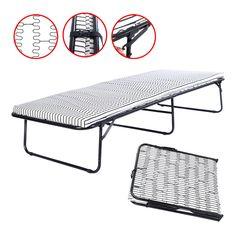 Folding Metal Guest Bed Spring Steel Frame Mattress Cot Sleep Single Portable