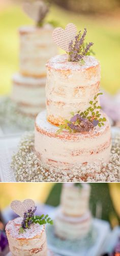 Sweet Avenue Cakery featured by Wedding Chicks - lavender and book page heart topped naked cake #nakedcake #weddingcake #SweetAvenuecCakery