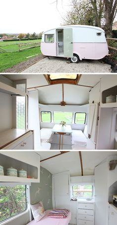 adorable camper. perhaps i could wrap my mind around camping if i could  re-design the interior....never thought of that!
