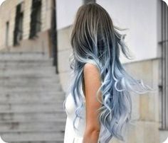 dark hair to grey blue ombre - Google Search