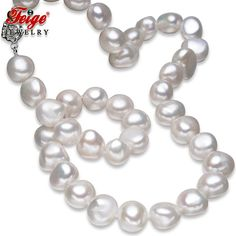 FEIGE Fine Jewelry Baroque Style 10-11mm White Natural Freshwater Cultured Pearl Choker Necklaces for Women Pearl Jewelry Colar
