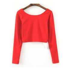 SheIn(sheinside) Red Long Sleeve Crop T-Shirt ($9.99) ❤ liked on Polyvore featuring tops, t-shirts, red top, long sleeve tops, red tee, red t shirt and polyester t shirts