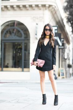 Little Black Dress :: Structured dress & Spiked booties :: Outfit :: Dress :: Marissa Webb Shoes :: Christian Louboutin Bag :: Proenza Schouler Accessories :: Paula Mendoza choker, Celine sunglasses Published: May 4, 2016