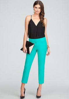 bebe   Happy Hour Haute - View All - Plunging Surplice Cami Bodysuit - Slit Crop Pant - Pat Leather Peep Toe Pumps - Los Feliz Envelope Clutch