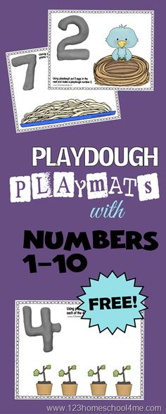 FREE Spring Themed Number Learning Play Dough Mats. Could also do a biblical theme with numbers 1-10 like 1 God, 2 animals of each in Noah's ark, 3 persons in trinity, etc.