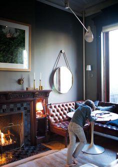 The leather corner sofa
