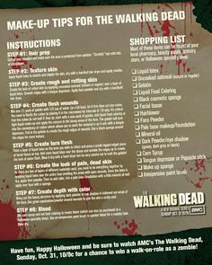 Walking dead zombie makeup tips for Halloween! These tips are all things that you can buy at your local one stop shop store!