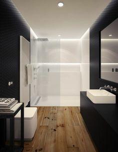 Salle de bain avec carrelage noir d'effet 3D