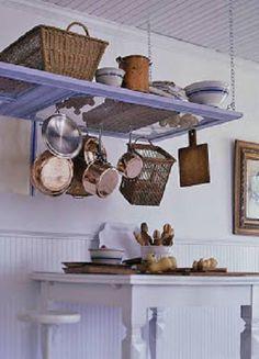 Use a Screen Door for a shelf & pot hanger