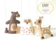 Stuffed Animal Sewing Patterns Woodland by LittleHibouShoppe