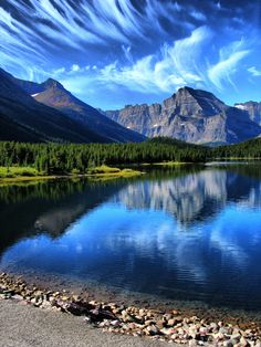 Horsetail clouds, Swiftcurrent Lake in Glacier National Park, Montana.