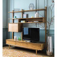 Estantería-mueble de TV vintage de roble macizo An. 180 cm