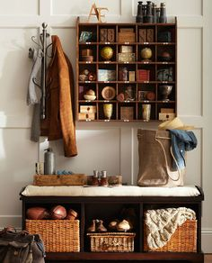 I like how the space is organized, looks like it would be the cutest mud room. I like how you can tell that a family lives here, which is what I would want to convey so badly in my own home.
