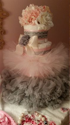 Tutu Diaper Cake Shabby  Pink Grey Couture by ItsUpInTheAttic