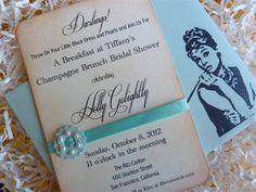 Bridal Shower Invitation Breakfast at Tiffany's Swarovski Pearls Embellishment Vintage Style Set of Ten