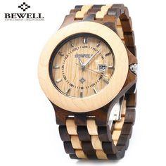US $52.33 - 2016 Bewell Wooden Watch Men Luxury Brand Quartz Watch Date Luminous Waterproof Male Wood Wristwatches relogio