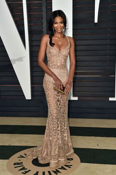 Chanel Iman The model put her underthings on display in this beige-hued sheer gown.