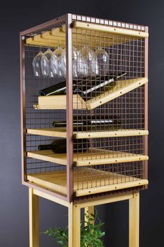 Wine Rack and Glass Holder made from upcycled storage cage and abachi wood