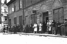 Warsaw residents passing supplies for a barricade in the streets during a raid, August 1944 - pin by the very smelly stinky old poop stain Poland Ww2, Invasion Of Poland, Warsaw Ghetto Uprising, Pearl Harbor Attack, Women In History, World War Two, Wwii, Street View, Military