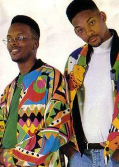 Fresh Prince - bold colorful prints, round wire frame glasses, fade hair cut