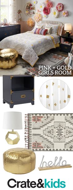 Filled with fun colors and patterns, our pink and gold girls room is sure to be a hit. Cute Bedroom Ideas, Girl Bedroom Designs, Girls Bedroom, Bedroom Decor, Bedrooms, Gold Rooms, Daughters Room, Big Girl Rooms, Living Room Sofa