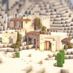 Minecraft Desert House, Minecraft House Plans, Minecraft Farm, Minecraft Cottage, Easy Minecraft Houses, Minecraft Medieval, Minecraft Decorations, Minecraft Construction, Minecraft Blueprints