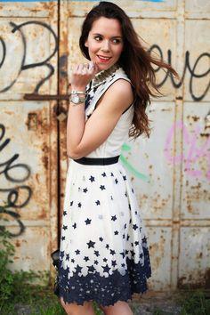 Diesel denim & stars dress and black high heels :)  MORE ON: http://www.ireneccloset.com/2014/05/diesel-denim.html fashion blogger outfit black white