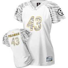 White Troy Polamalu Pittsburgh Steelers Women's Zebra Field ...