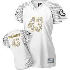 White Troy Polamalu Pittsburgh Steelers Women's Zebra Field