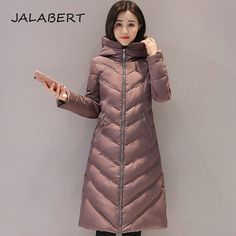 JALABERT 2017 Winter New Female Lightweight Cotton Hooded coat in the long section women Slim cotton jacket