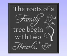 The Roots of a Family Tree Begin with Two Hearts Wood Sign