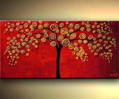Original fine art, Abstract tree painting, 20 inch round wall art ...