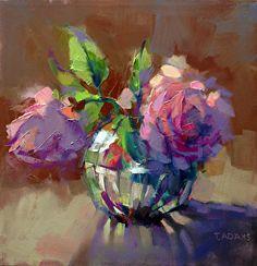 Crystal Vase with Roses by Trisha Adams