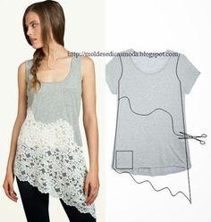 Cool Ideas to Refashion Old Shirts 5 Diy Clothing, Sewing Clothes, Sewing Shirts, Diy Fashion, Ideias Fashion, Fashion Sewing, Unique Fashion, Fashion Boots, Fashion Clothes