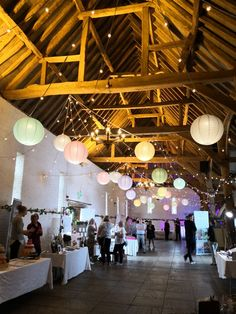 Pastel paper lanterns and festoon lights Pastel Decor, Pastel Paper, Wedding Lanterns, Ceiling Decor, Paper Lanterns, Lampshades, Decoration, Festoon Lights, Wedding Ideas