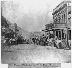 Pioneer Stage leaving Wells, Fargo & Co.'s. C Street, Virginia City published 1866
