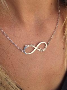 4749cf69d864 Collar infinito con nombre Plata. Colgante Infinito plata de ley 925.  Diseño romántico y
