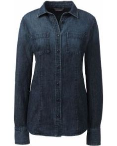 New Year Special: Lands' End Women's Plus Size Long Sleeve Denim Shirt - Dark Denim Wash