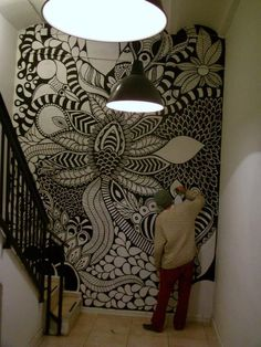 ©MarianoPadilla - Mural - Wall Painting - Uni Posca on 19m² wall - Hostel One Barcelona #Zentangle