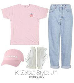 K-Street Style: Jin - Kpop Outfits ( ・ัω・ั ) - Boutique Cute Casual Outfits, Outfits For Teens, Pretty Outfits, Bts Clothing, Boutique Clothing, Fashion Boutique, Fashion Looks, Cute Fashion, Blackpink Airport Fashion