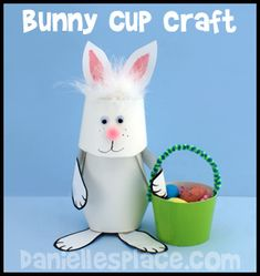 Easter Bunny Paper Cup Craft Kids Can Make www.daniellesplace.com