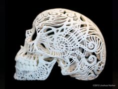 "Exquisite 3D-printed decorative skull - Joshua Harker. ""The little filigree 3d printed skull that became the #1 most funded Sculpture project in Kickstarter history & an icon of the 3D printed medium""."