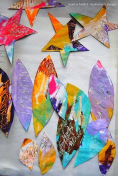 Universe DreamCatchers: painted stars and feathers