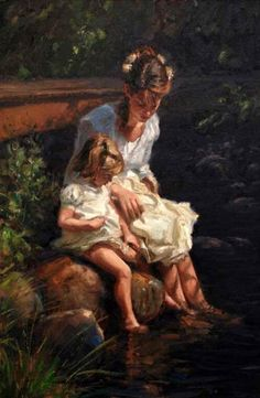 Kai Fine Art is an art website, shows painting and illustration works all over the world. Renoir, Mothers Love, Mother And Child, Beautiful Paintings, Love Art, Oeuvre D'art, Painting & Drawing, Art History, Amazing Art