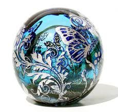 Gorgeously Ornate Butterfly and Flora w/Silver Leaf Art-Glass Paperweight by 'jhstudioglass' ♥•♥•♥