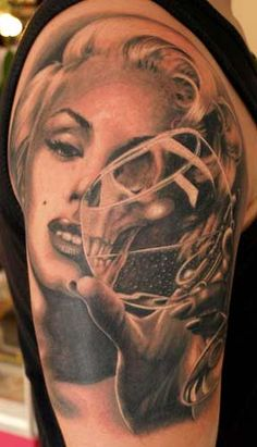 Black and white Marilyn #Monroe #pinup #tattoo holding a glass - #tattoos