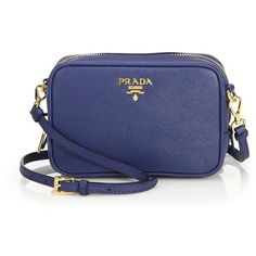 Prada Saffiano Leather Camera Bag ($730) ❤ liked on Polyvore featuring bags, apparel & accessories, prada bags and prada