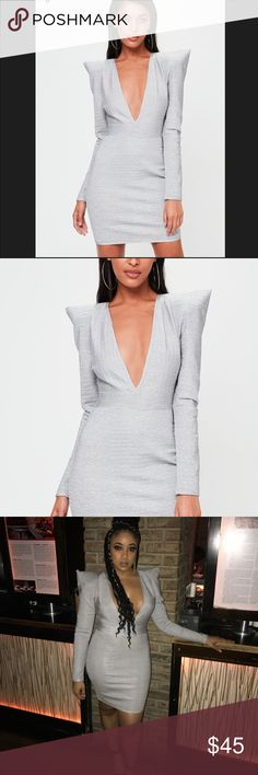 Missguided Bandage Bodycon Dress Light grey, bandage material, stretchy, bold/exaggerated shoulders for making a statement on a night out! Missguided Dresses Long Sleeve